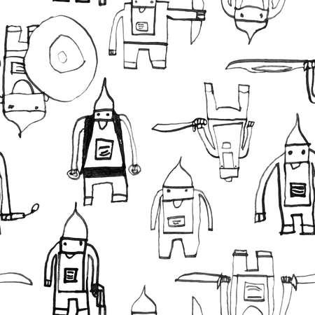 pattern: Hero seamless pattern. Pretty childs drawing with school pen. Cute hero hand drawn with black ink on white background. Boy hero seamless pattern for textile or wrapping paper. Illustration