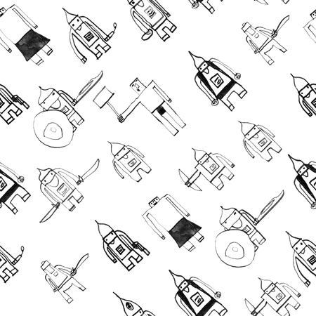 boyish: Hero seamless pattern. Sightly childs drawing with school pen. Cute hero hand drawn with black ink on white background. Boy hero seamless pattern for textile or wrapping paper.