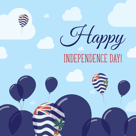 br: British Indian Ocean Territory Independence Day Flat Patriotic Design. Indian Flag Balloons. Happy National Day Vector Card. Illustration