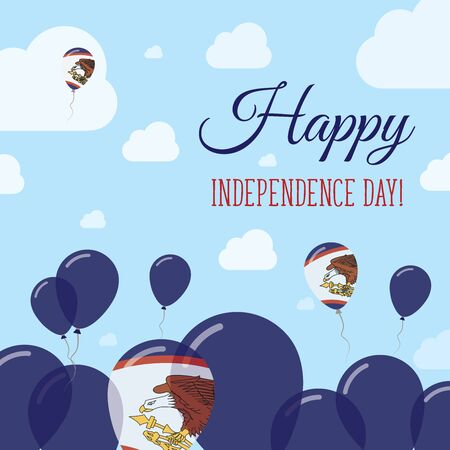 oceania: American Samoa Independence Day Flat Patriotic Design. American Samoan Flag Balloons. Happy National Day Vector Card.