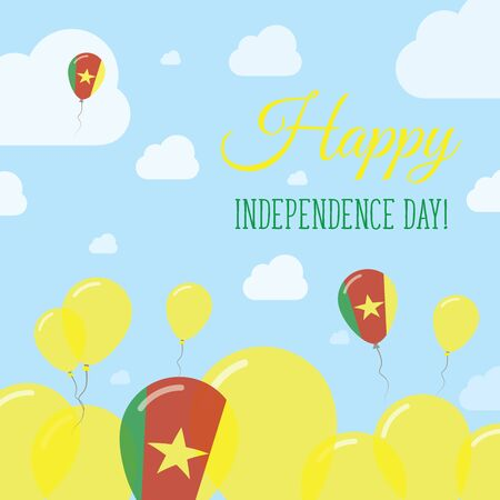 independency: Cameroon Independence Day Flat Patriotic Design. Cameroonian Flag Balloons. Happy National Day Vector Card.