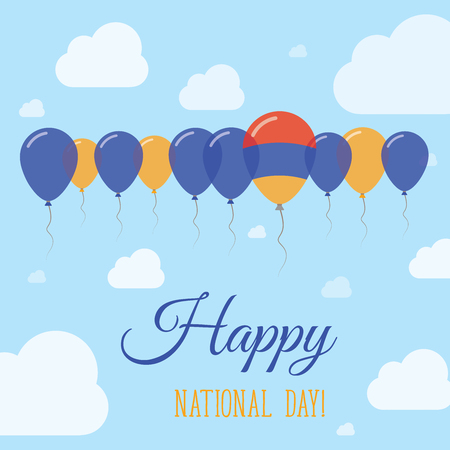 Armenia National Day Flat Patriotic Poster. Row of Balloons in Colors of the Armenian flag. Happy National Day Card with Flags, Balloons, Clouds and Sky.