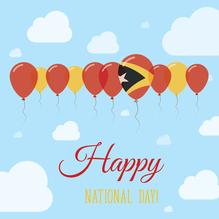 streamers: Timor-Leste National Day Flat Patriotic Poster. Row of Balloons in Colors of the East Timorese flag. Happy National Day Card with Flags, Balloons, Clouds and Sky.