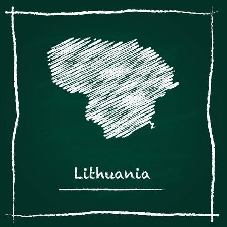 Lithuania outline vector map hand drawn with chalk on a green blackboard. Chalkboard scribble in childish style. White chalk texture on green background. Illustration