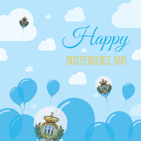 San Marino Independence Day Flat Patriotic Design. Sammarinese Flag Balloons. Happy National Day Vector Card.