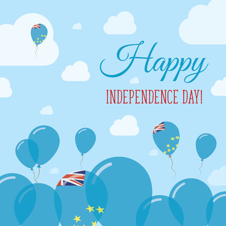 Tuvalu Independence Day Flat Patriotic Design. Tuvaluan Flag Balloons. Happy National Day Vector Card.