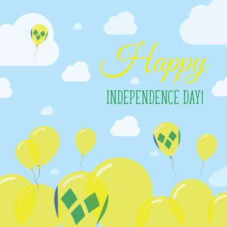 Saint Vincent And The Grenadines Independence Day Flat Patriotic Design. Saint Vincentian Flag Balloons. Happy National Day Vector Card.