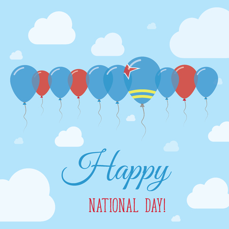 Aruba National Day Flat Patriotic Poster. Row of Balloons in Colors of the Aruban flag. Happy National Day Card with Flags, Balloons, Clouds and Sky.