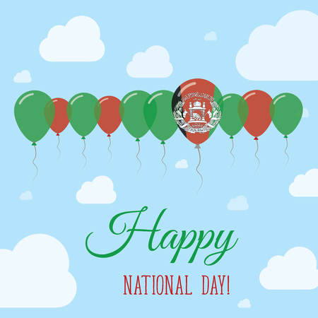 Afghanistan National Day Flat Patriotic Poster. Row of Balloons in Colors of the Afghan flag. Happy National Day Card with Flags, Balloons, Clouds and Sky.