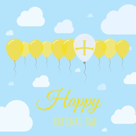 Guernsey National Day Flat Patriotic Poster. Row of Balloons in Colors of the Channel Islander flag. Happy National Day Card with Flags, Balloons, Clouds and Sky.