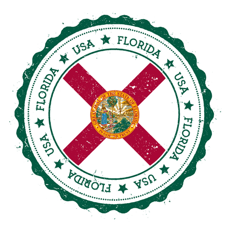 Florida flag badge. Grunge rubber stamp with Florida flag. Vintage travel stamp with circular text, stars and USA state flag inside it. Vector illustration.
