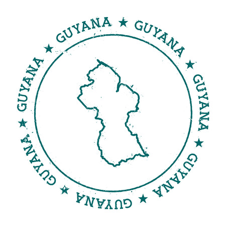 co operative: Guyana vector map. Retro vintage insignia with country map. Distressed visa stamp with Guyana text wrapped around a circle and stars. USA state map vector illustration. Illustration