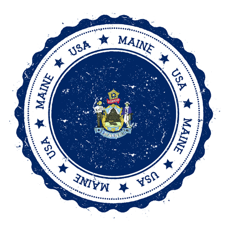 streamers: Maine flag badge. Grunge rubber stamp with Maine flag. Vintage travel stamp with circular text, stars and USA state flag inside it. Vector illustration.