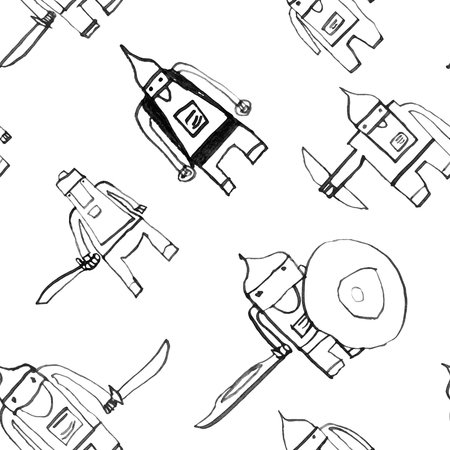 boyish: Hero seamless pattern. Enchanting childs drawing with school pen. Cute hero hand drawn with black ink on white background. Boy hero seamless pattern for textile or wrapping paper. Illustration