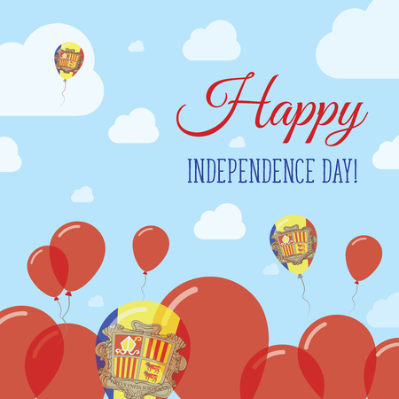 Andorra Independence Day Flat Patriotic Design. Andorran Flag Balloons. Happy National Day Vector Card.