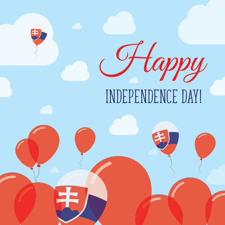 Slovakia Independence Day Flat Patriotic Design. Slovak Flag Balloons. Happy National Day Vector Card.