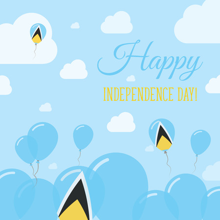 Saint Lucia Independence Day Flat Patriotic Design. Saint Lucian Flag Balloons. Happy National Day Vector Card. Illustration