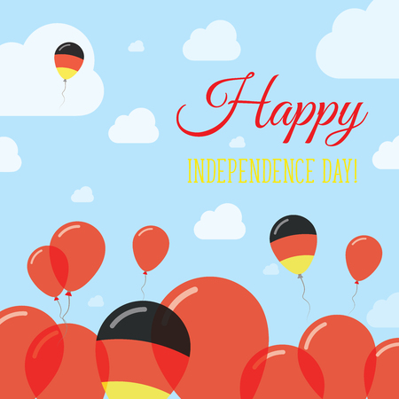 Germany Independence Day Flat Patriotic Design. German Flag Balloons. Happy National Day Vector Card.