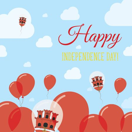 streamers: Gibraltar Independence Day Flat Patriotic Design. Gibraltar Flag Balloons. Happy National Day Vector Card.