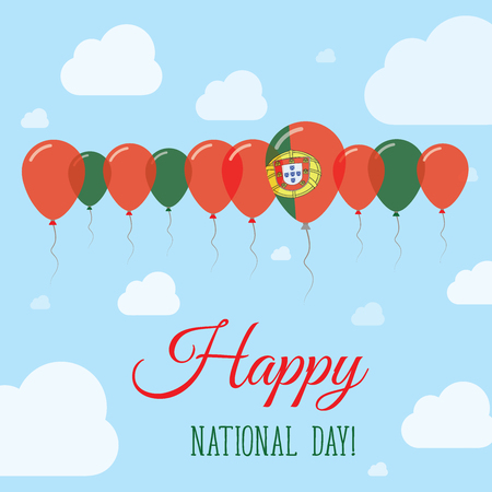 Portugal National Day Flat Patriotic Poster. Row of Balloons in Colors of the Portuguese flag. Happy National Day Card with Flags, Balloons, Clouds and Sky.