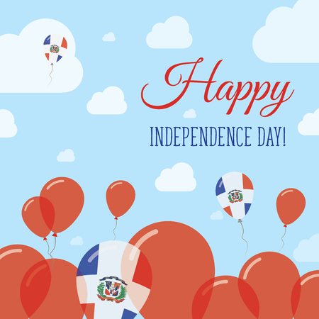 Dominican Republic Independence Day Flat Patriotic Design. Dominican Flag Balloons. Happy National Day Vector Card.