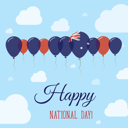Heard and McDonald Islands National Day Flat Patriotic Poster. Row of Balloons in Colors of the Heard and McDonald Islander flag. Happy National Day Card with Flags, Balloons, Clouds and Sky.
