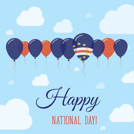 streamers: Cape Verde National Day Flat Patriotic Poster. Row of Balloons in Colors of the Cape Verdian flag. Happy National Day Card with Flags, Balloons, Clouds and Sky.