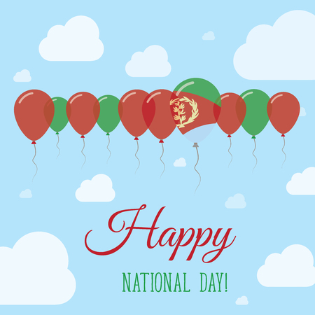 Eritrea National Day Flat Patriotic Poster. Row of Balloons in Colors of the Eritrean flag. Happy National Day Card with Flags, Balloons, Clouds and Sky. Illustration