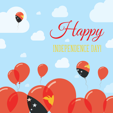 oceania: Papua New Guinea Independence Day Flat Patriotic Design. Papua New Guinean Flag Balloons. Happy National Day Vector Card.