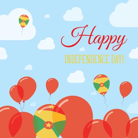 Grenada Independence Day Flat Patriotic Design. Grenadian Flag Balloons. Happy National Day Vector Card. Illustration