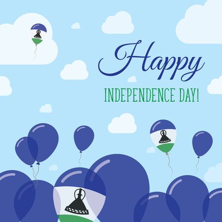 autonomía: Lesotho Independence Day Flat Patriotic Design. Mosotho Flag Balloons. Happy National Day Vector Card. Vectores