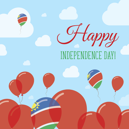 Namibia Independence Day Flat Patriotic Design. Namibian Flag Balloons. Happy National Day Vector Card.