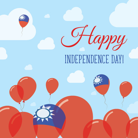 Taiwan, Republic Of China Independence Day Flat Patriotic Design. Taiwanese Flag Balloons. Happy National Day Vector Card.
