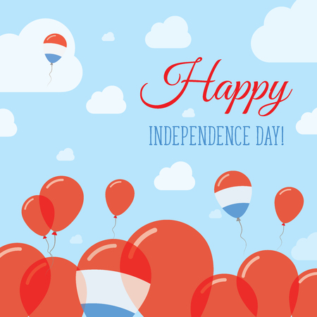 Luxembourg Independence Day Flat Patriotic Design. Luxembourger Flag Balloons. Happy National Day Vector Card.