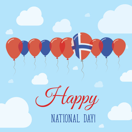 proclamation: Svalbard And Jan Mayen National Day Flat Patriotic Poster. Row of Balloons in Colors of the Norwegian flag. Happy National Day Card with Flags, Balloons, Clouds and Sky.
