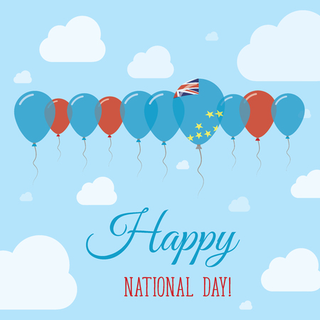 Tuvalu National Day Flat Patriotic Poster. Row of Balloons in Colors of the Tuvaluan flag. Happy National Day Card with Flags, Balloons, Clouds and Sky. Illustration