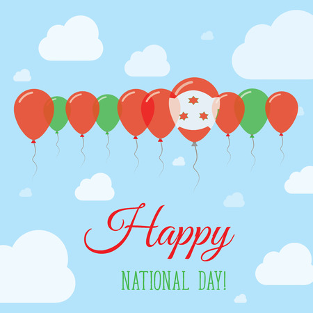 independency: Burundi National Day Flat Patriotic Poster. Row of Balloons in Colors of the Burundian flag. Happy National Day Card with Flags, Balloons, Clouds and Sky.