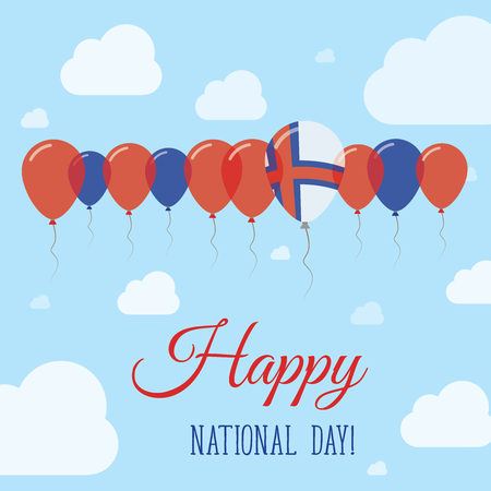 independency: Faroe Islands National Day Flat Patriotic Poster. Row of Balloons in Colors of the Faroese flag. Happy National Day Card with Flags, Balloons, Clouds and Sky. Illustration