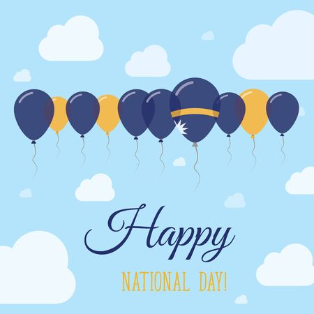 sovereignty: Nauru National Day Flat Patriotic Poster. Row of Balloons in Colors of the Nauruan flag. Happy National Day Card with Flags, Balloons, Clouds and Sky.