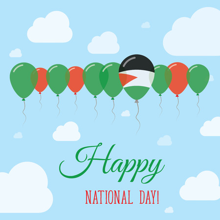 Palestine, State of National Day Flat Patriotic Poster. Row of Balloons in Colors of the Palestinian flag. Happy National Day Card with Flags, Balloons, Clouds and Sky.