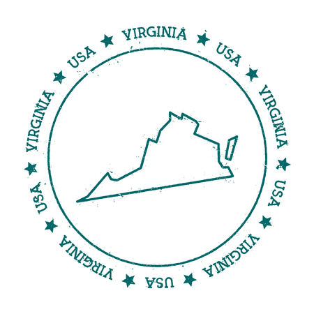 Virginia vector map. Retro vintage insignia with US state map. Distressed visa stamp with Virginia text wrapped around a circle and stars. USA state map vector illustration.