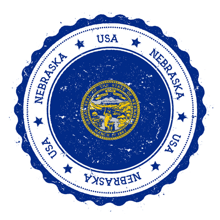 streamers: Nebraska flag badge. Grunge rubber stamp with Nebraska flag. Vintage travel stamp with circular text, stars and USA state flag inside it. Vector illustration. Illustration