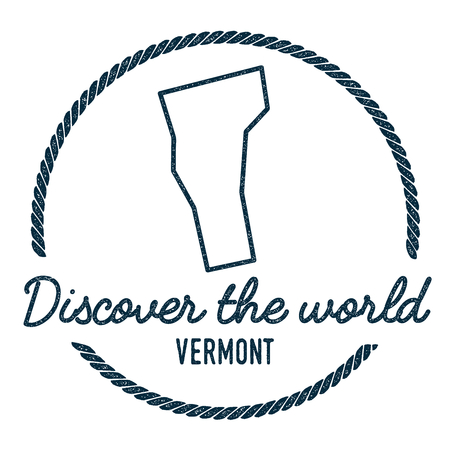 Vermont Map Outline. Vintage Discover the World Rubber Stamp with Vermont Map. Hipster Style Nautical Rubber Stamp, with Round Rope Border. USA State Map Vector Illustration.