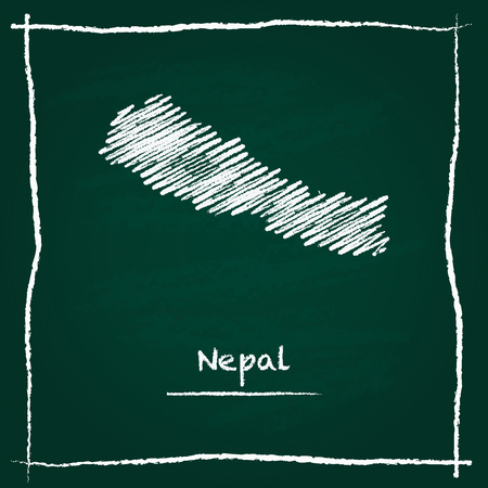 erased: Nepal outline vector map hand drawn with chalk on a green blackboard. Chalkboard scribble in childish style. White chalk texture on green background. Illustration