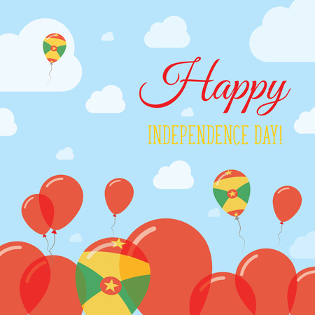 Grenada Independence Day Flat Patriotic Design. Grenadian Flag Balloons. Happy National Day Vector Card. Illustration