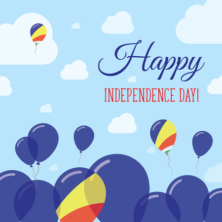 Seychelles Independence Day Flat Patriotic Design. Seychellois Flag Balloons. Happy National Day Vector Card.