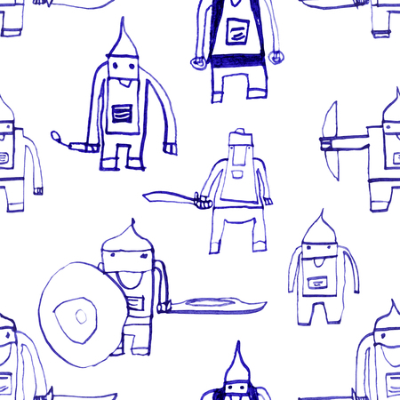 boyish: Hero seamless pattern. Radiant childs drawing with school pen. Cute hero hand drawn with blue ink on white background. Boy hero seamless pattern for textile or wrapping paper.