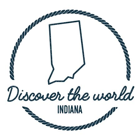 Indiana Map Outline. Vintage Discover the World Rubber Stamp with Indiana Map. Hipster Style Nautical Rubber Stamp, with Round Rope Border. USA State Map Vector Illustration. Illustration