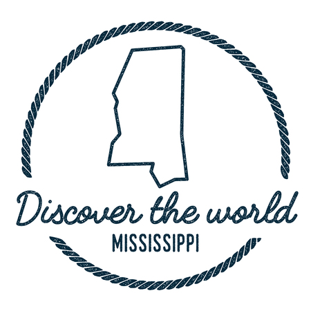 wanderlust: Mississippi Map Outline. Vintage Discover the World Rubber Stamp with Mississippi Map. Hipster Style Nautical Rubber Stamp, with Round Rope Border. USA State Map Vector Illustration. Illustration