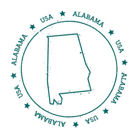 Alabama vector map. Retro vintage insignia with US state map. Distressed visa stamp with Alabama text wrapped around a circle and stars. USA state map vector illustration.